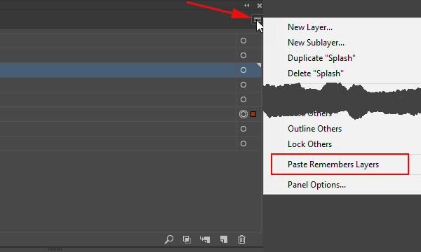Paste Remembers Layers in Illustrator