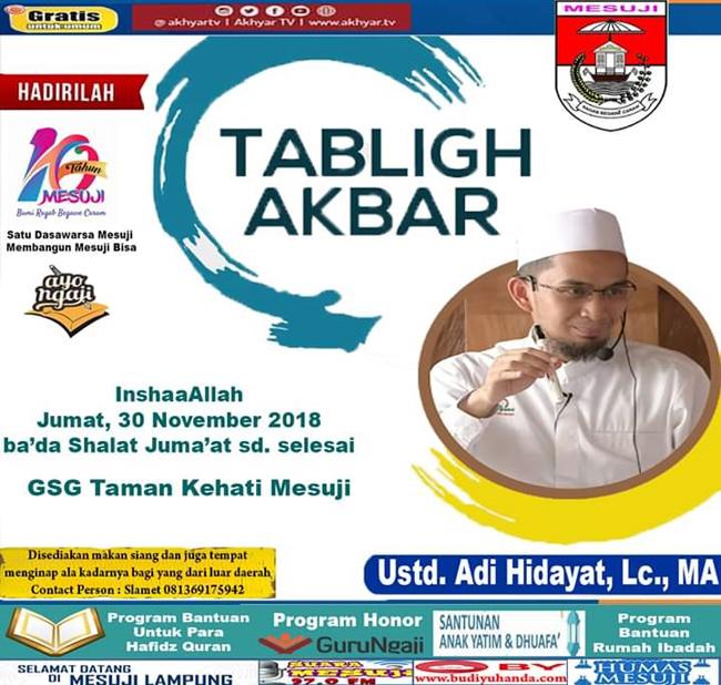Resmikan GSG Terbesar di Lampung, Khamami Hadirkan Ustad Adi Hidayat.Lc.MA