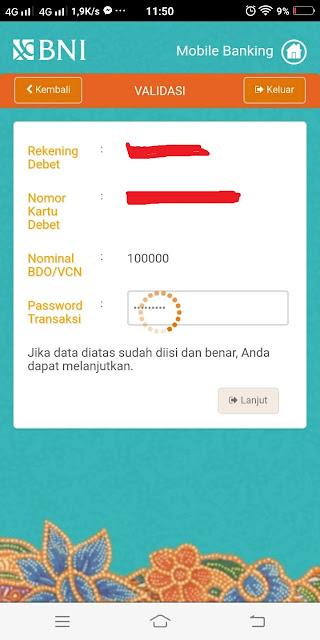 Cara membuat Pembayaran Online BNI / VCN Bank BNI  Mahasiswa Excel
