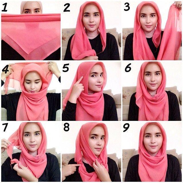 tutorial hijab segitiga style 2
