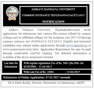 NANNAYA CET Notification Last Date 11-04-2017
