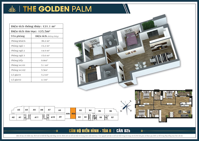 Căn B2b - 121m - The Golden Palm