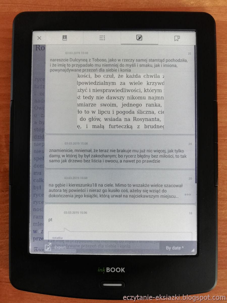 PocketBoook Reader na InkBOOK LUMOS – sortowanie dodanych zaznaczeń