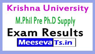 Krishna University M.Phil Pre Ph.D Supply Exam Results