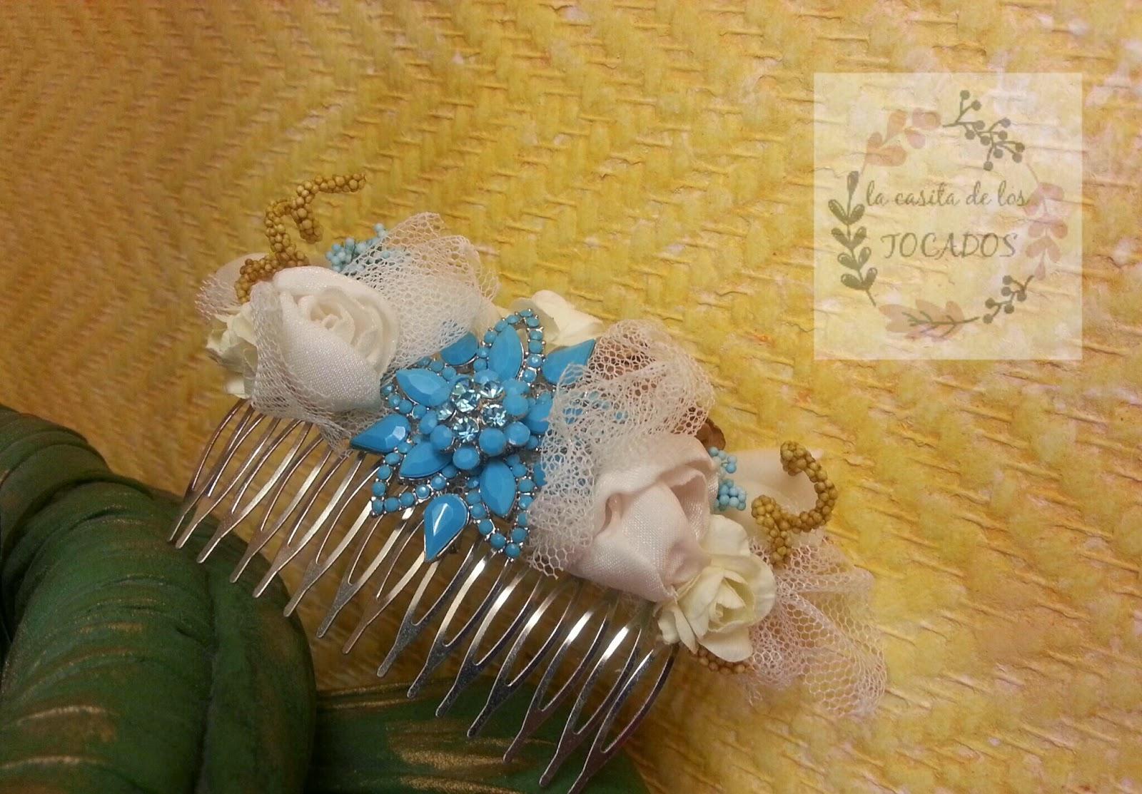 peineta en varios tonos para novia, artesanal, a juego con ramo vintage