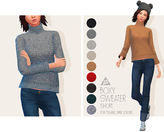 [TS4] Boxy Sweater (Short) for AF