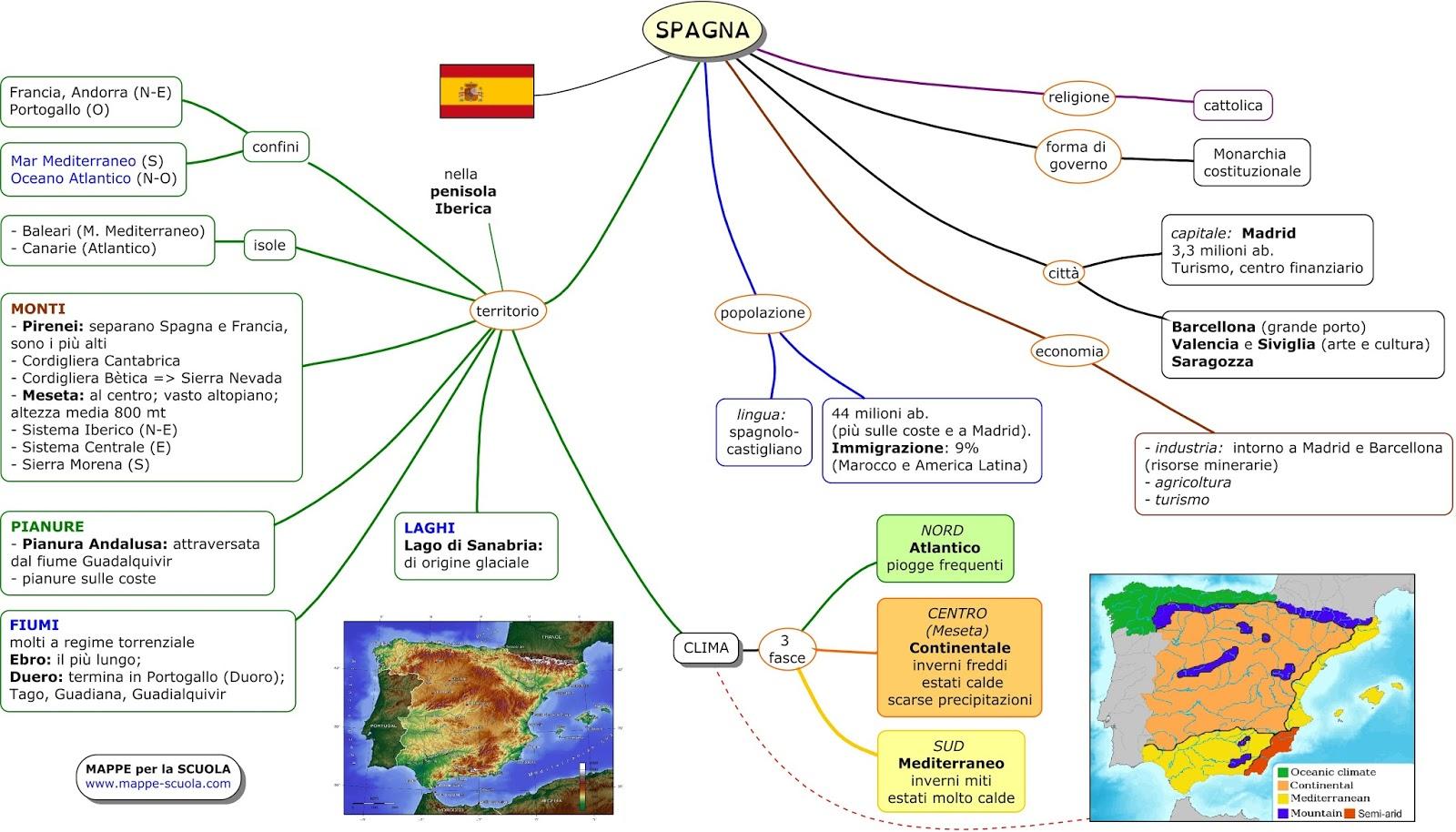 Cartina Fisica Spagna Con Fiumi.123scuola Com Ii Media Unita 2 Regione Iberica Spagna Portogallo E Andorra