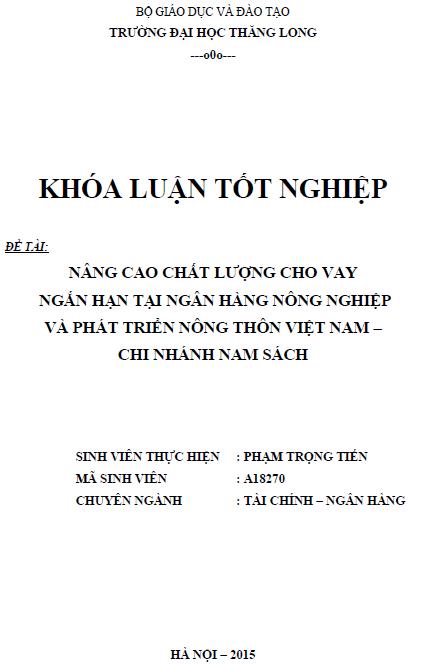 Nâng cao chất lượng cho vay ngắn hạn tại Ngân hàng Nông nghiệp và Phát triển Nông thôn Việt Nam Chi nhánh Nam Sách