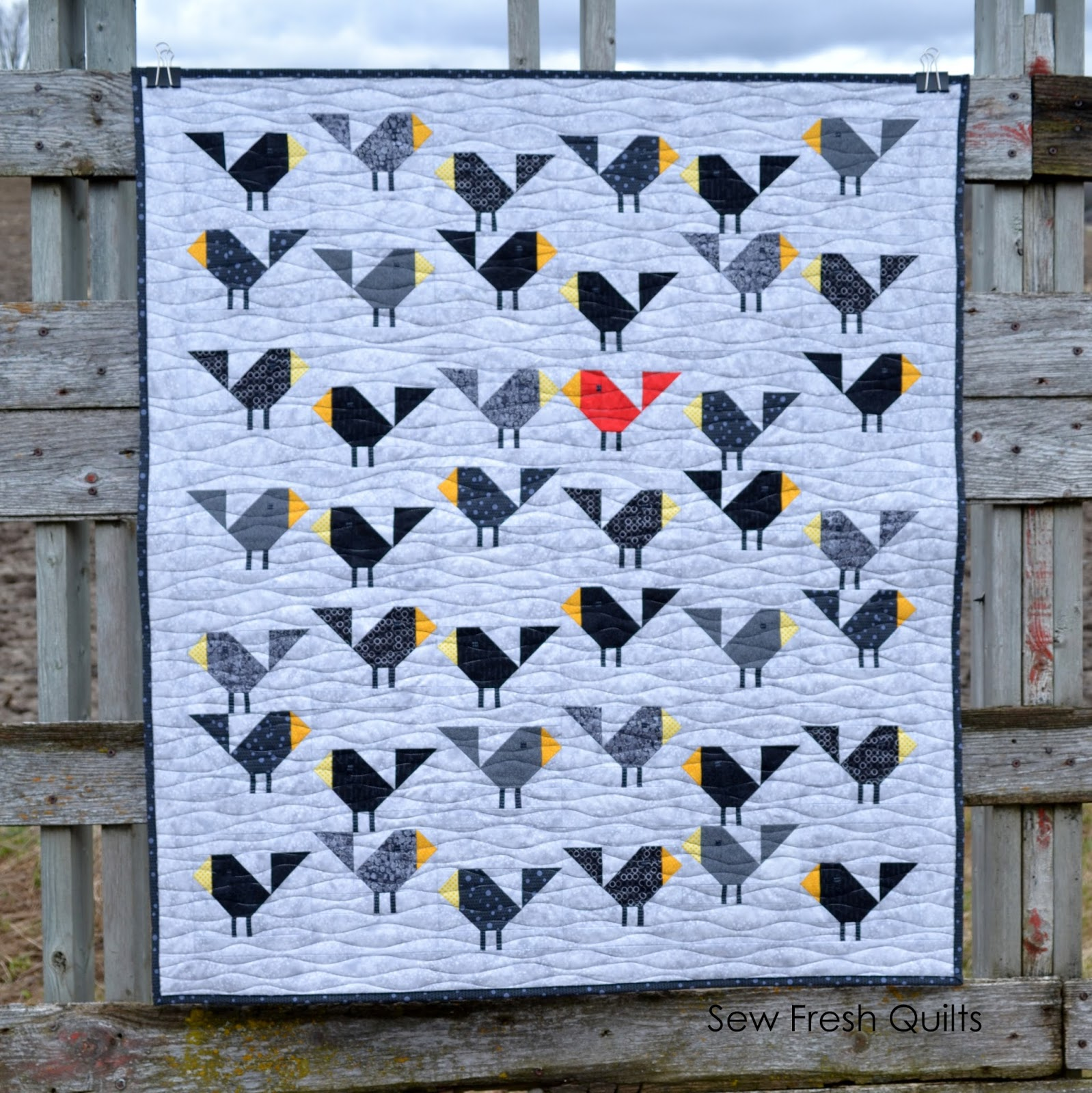 Sew Fresh Quilts: Black Birds baby quilt