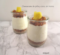 Cheesecake de piña y coco, sin horno