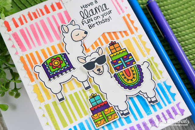 Llama Fun Birthday Card with Rainbow Stenciled Background by Juliana Michaels featuring Newton's Nook Designs Loveable Llamas Stamp Set and Serene Stripes Stencil