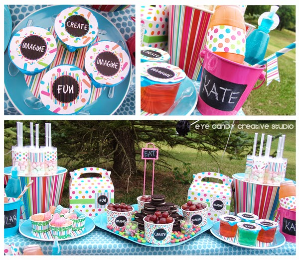 chalkboard decor, picnic food ideas, kids art party, drinks for kids