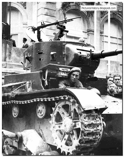 Spanish civil war Republican soldier  Soviet supplied T 26 tank.