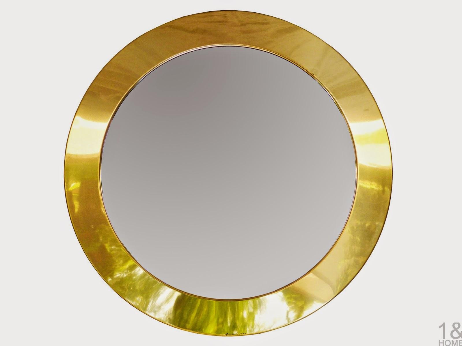 C. Jere Round Brass Circular Mirror modern vintage retro