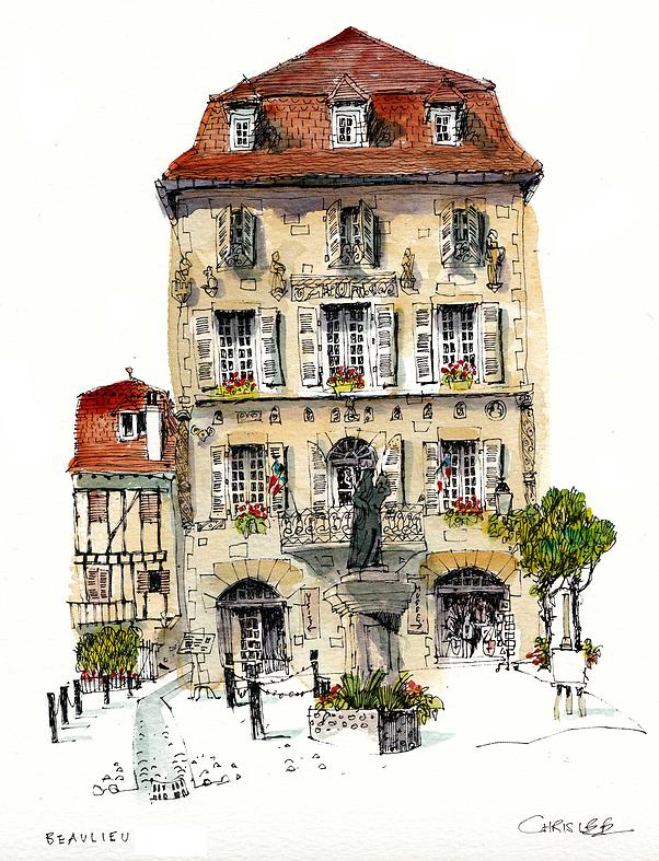 06-France-Beaulieu-Sur-Dordogne-Chris-Lee-Charming-Architectural-wobbly-Drawings-and-Paintings-www-designstack-co