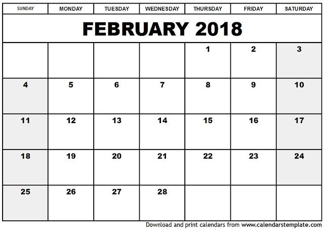 February 2018 Calendar Printable, February 2018 Calendar