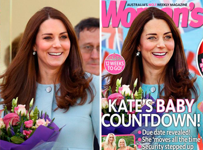 Kate Middletone Women's Magazine Before and After