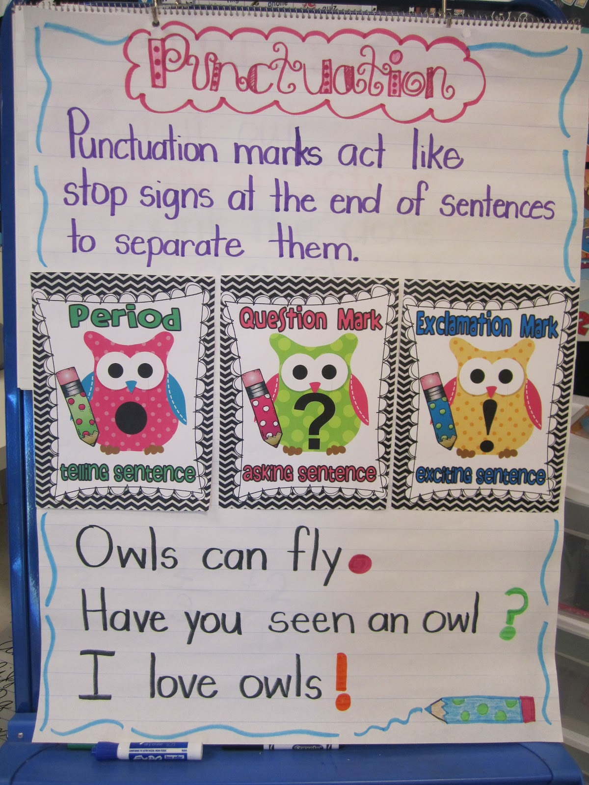 In my classroom we  ve been working on punctuation  needed to re vamp anchor chart this year match up owl decor also first grade glitter and giggles  back us rh firstgradeglitterandgigglesspot