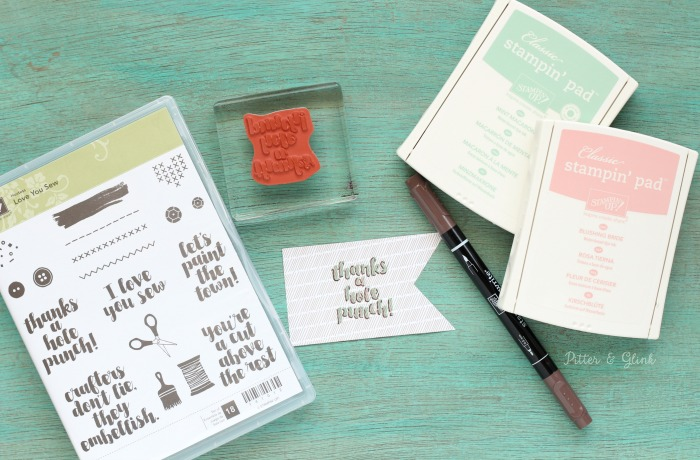 Use the Love You Sew Stamp Set from Stampin' Up to create a beautiful handmade thank you card. |sponsored|