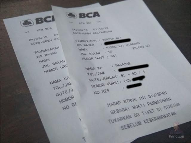 Bukti pembayaran tiket via ATM BCA