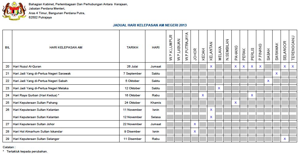 Malaysia Public Holidays 2013 Calendar (Kalendar Jadual