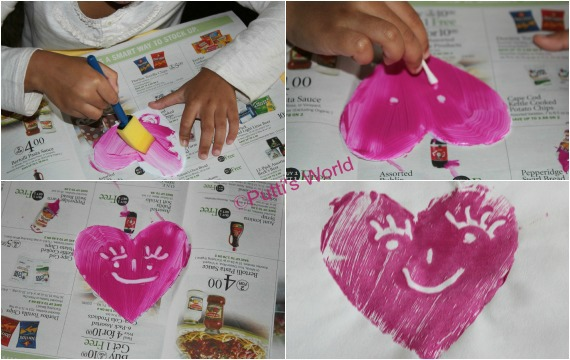 Print making with kids Valentine Heart Styrofoam