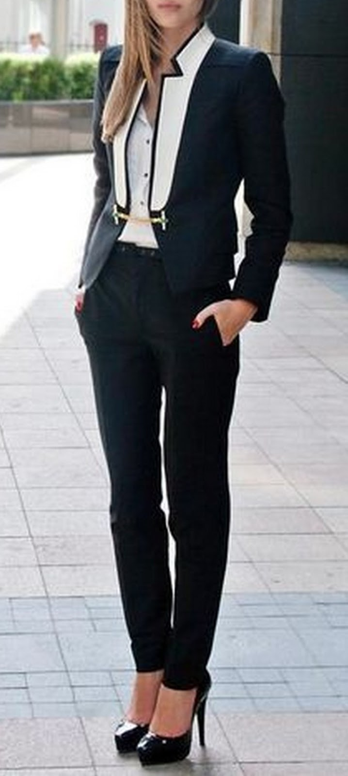 stylish office look / blazer + shirt + pants + heels