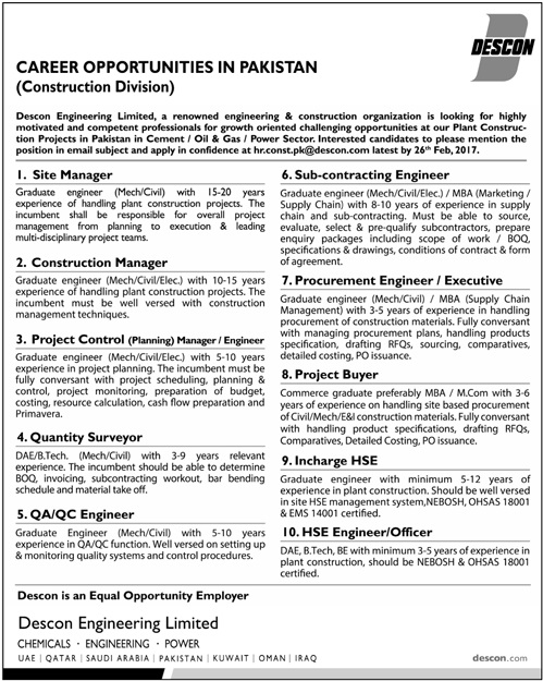 Civil engineering jobs in descon engineering limited for Finding subcontracting opportunities