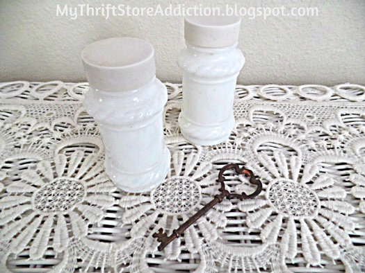 Vintage milk glass salt and peppers