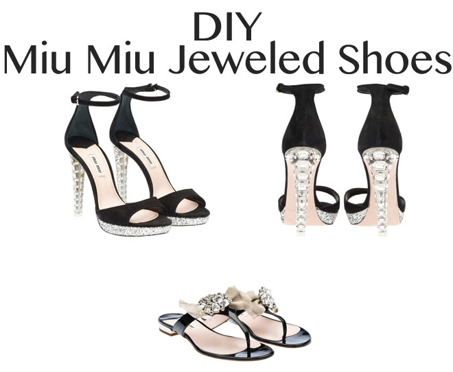 a2374666167c DIY  Miu Miu Jeweled Shoes - Red Soles and Red Wine