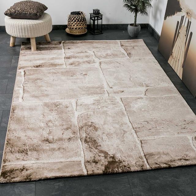 Tapis classique de salon pas cher, tissage serré, aspect mur de pierre, top qualité, beige / marron, Beige / Braun, 120 x 170 cm