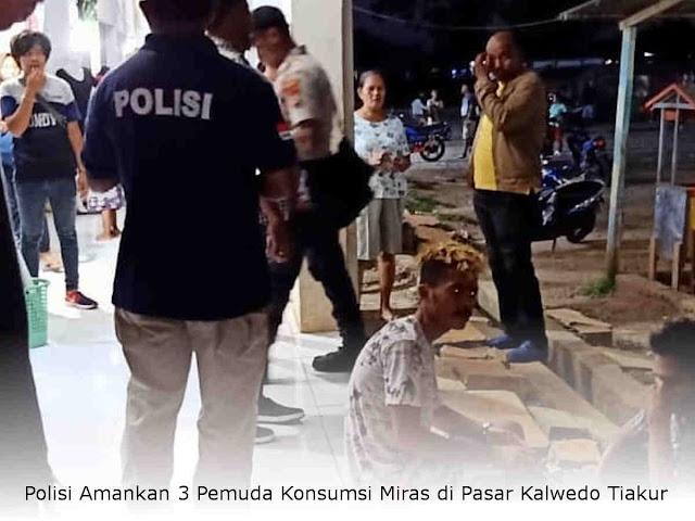 Polisi Amankan 3 Pemuda Konsumsi Miras di Pasar Kalwedo Tiakur