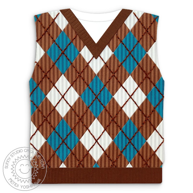 Sunny Studio Stamps: Fall Argyle Sweater Vest Shaped Card by Mendi Yoshikawa