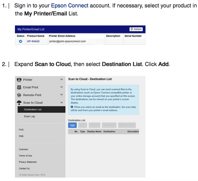 Epson XP Series Activate Scan to Cloud & Remote Print