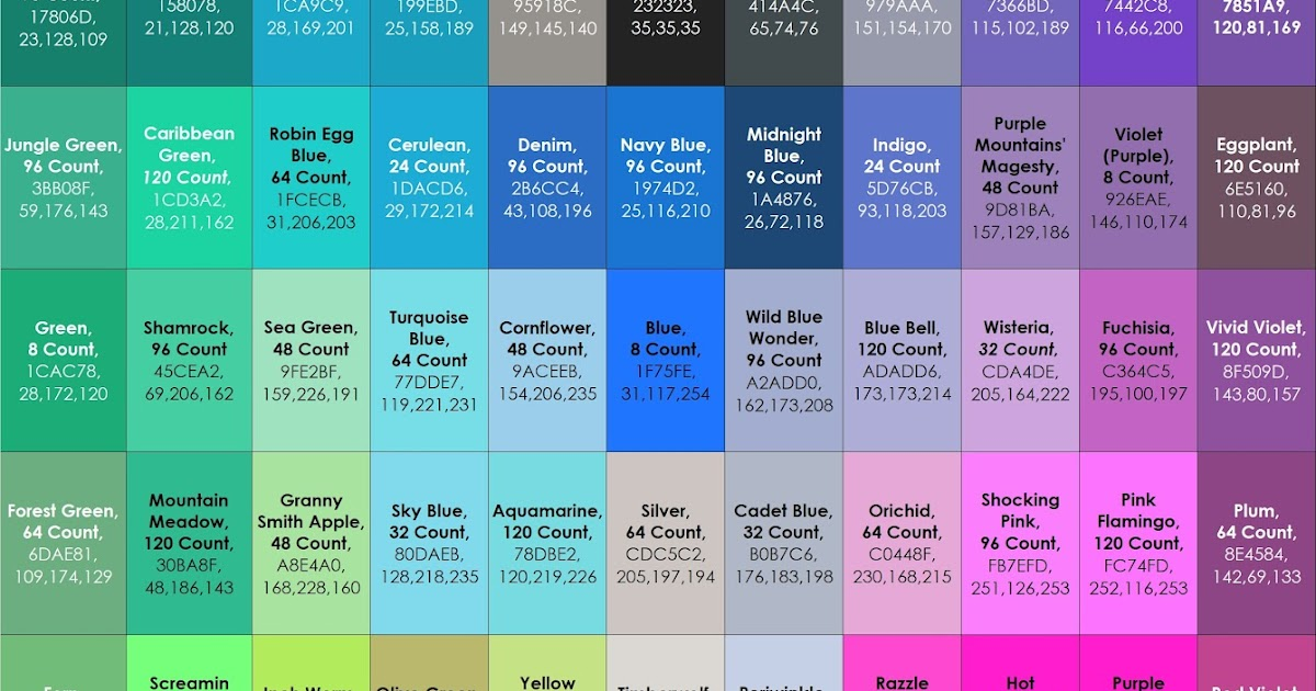 Complete List Of Current Crayola Crayon Colors Jennys Crayon