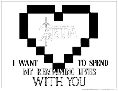 Legend of Zelda valentine's day coloring page