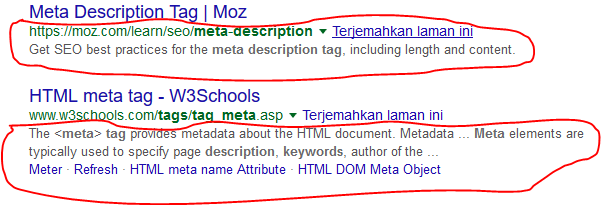 judul dan deskripsi penelusuran yang muncul di pencarian google