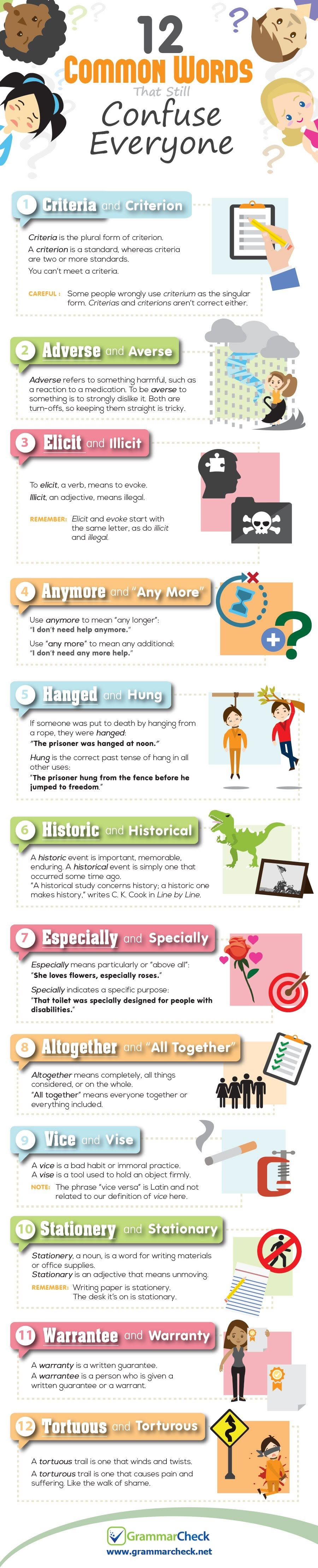 12 Common Words That Still Confuse Everyone #Infographic