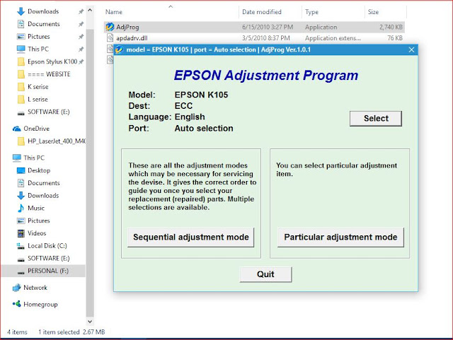 EPSON K105 RESETTER