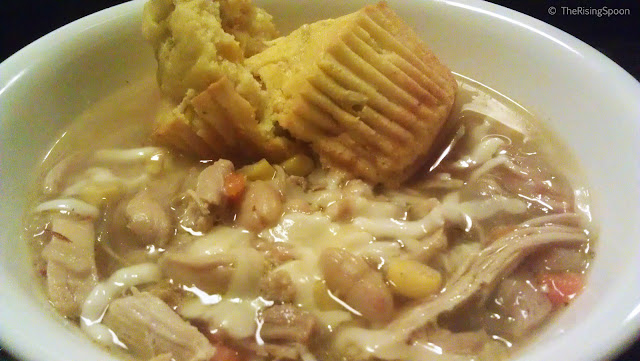 The Rising Spoon Blog: White Chicken Chili & Green Chile Cornbread Muffins