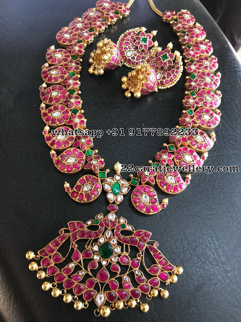 Silver Metal Kundan Mango Necklace