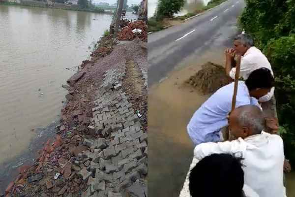 hassanpur-kashipur-village-heavy-rain-road-started-breaking-hindi-news