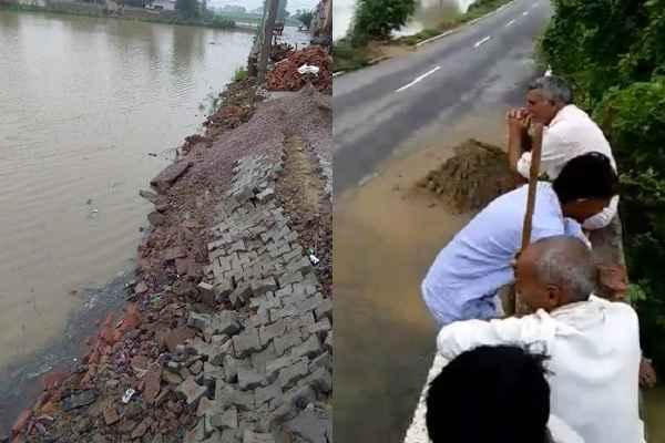 hassanpur-kashipur-village-heavy-rain-road-started-breaking-hindi-news