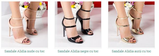 sandale de ocazie aurii, negre cu toc inalt ieftine