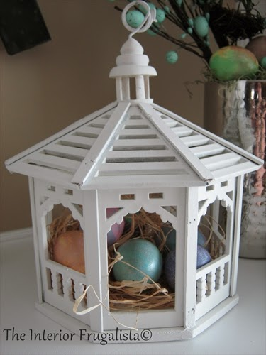 Miniature Wooden Gazebo for our Spring Mantle under $10.00!