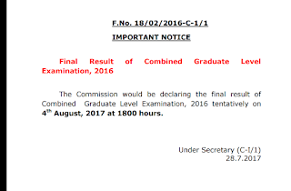 (Official) SSC CGL 2016 Final Result Date Out