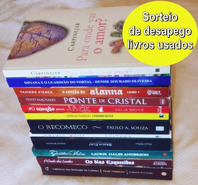 Sorteio de desapego de 12 livros usados