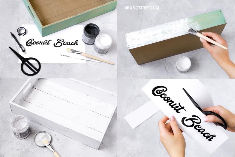 DIY Anleitung Retro Tablett Getränkkiste mit Schriftzug Vintage Stil