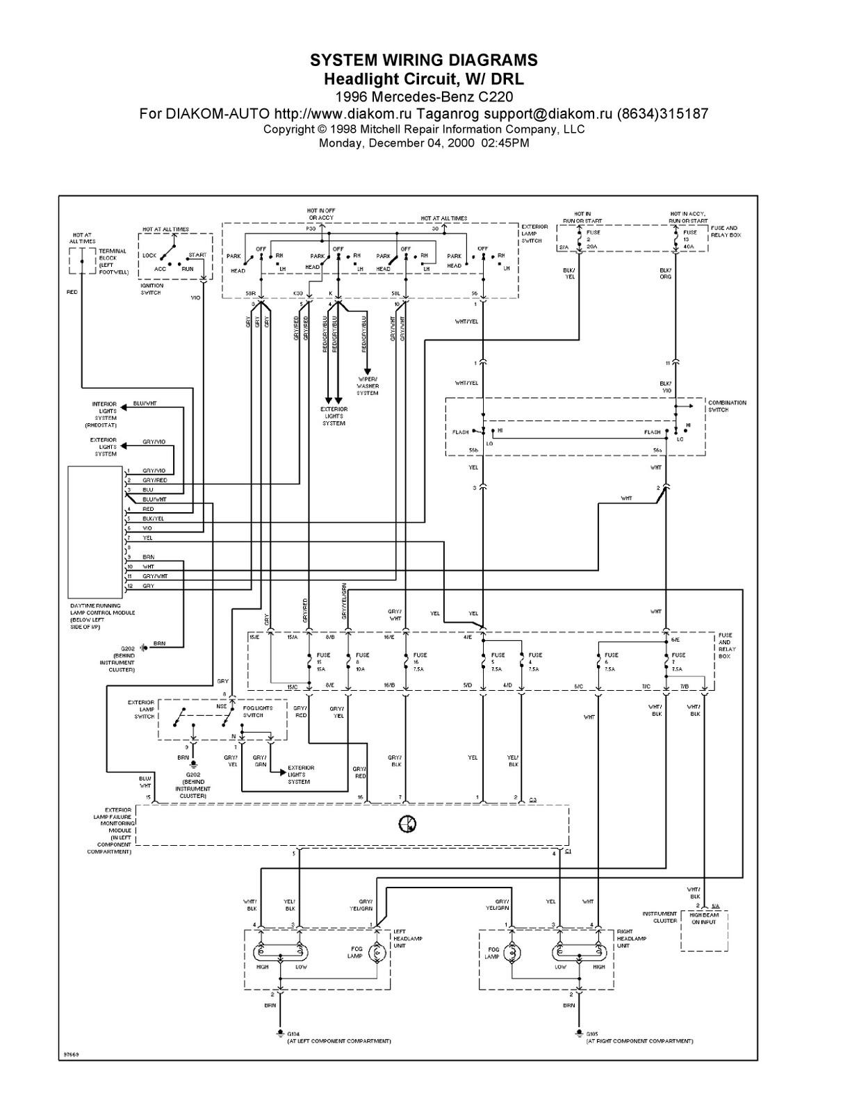 1996 MercedesBenz C220 System Wiring Diagrams Headlight