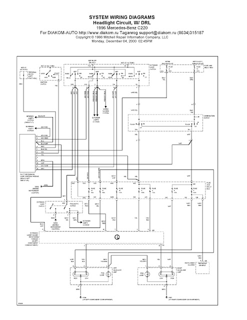 1996 MercedesBenz C220 System Wiring Diagrams Headlight